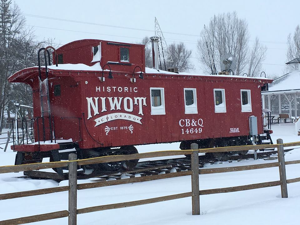 Niwot Red Caboose Snow